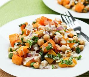 Roasted Butternut Squash and Chickpea Salad with Tahini Dressing