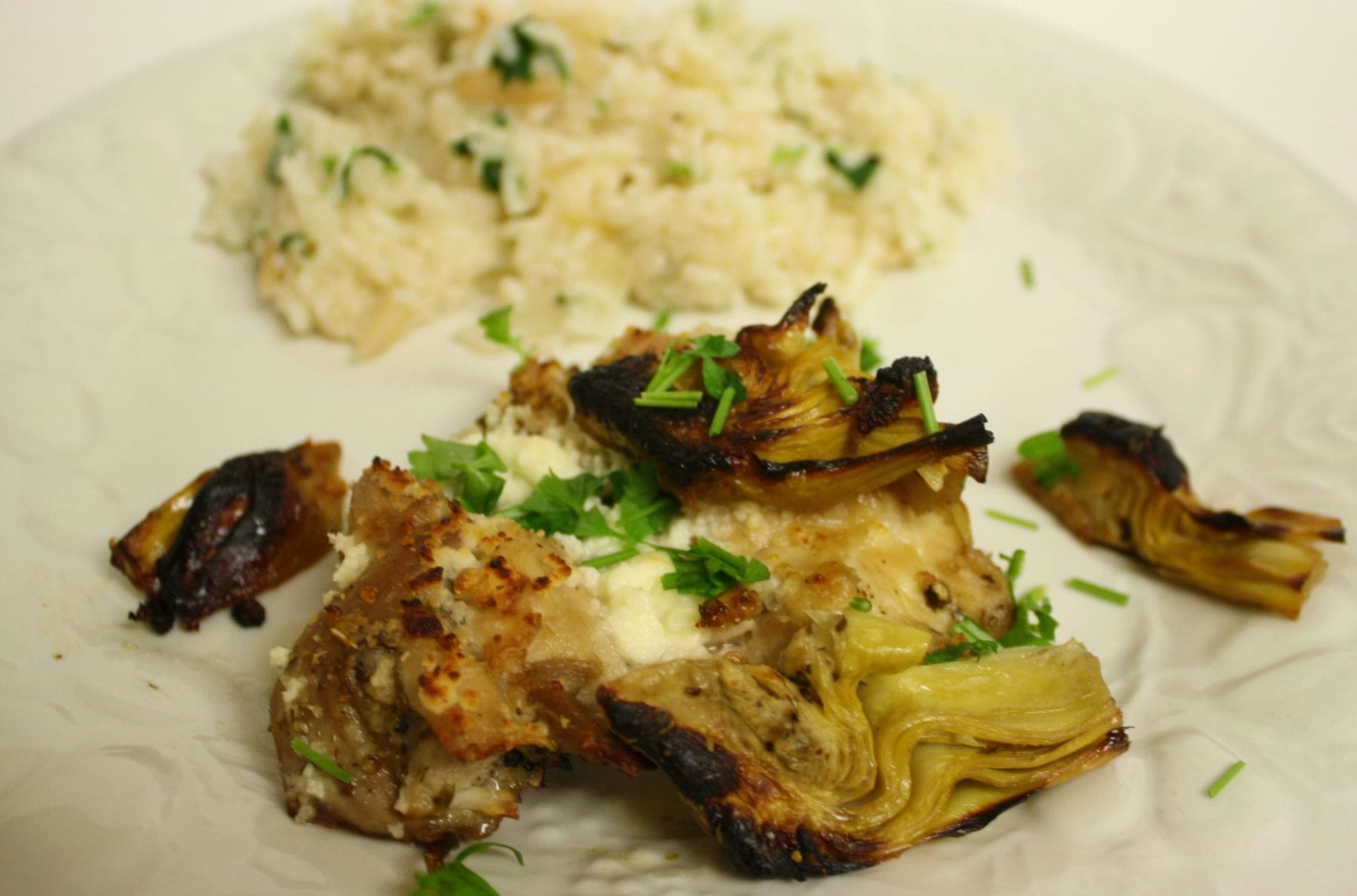 Broiled Chicken Thighs with Artichoke Hearts and Feta