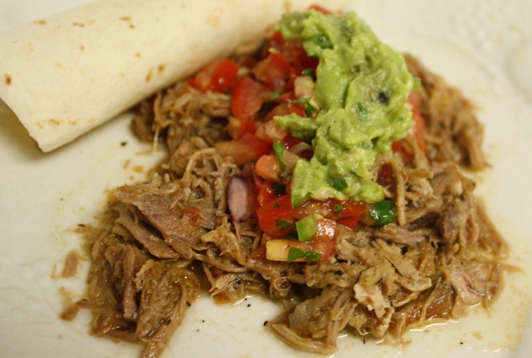 Carnitas Tacos with Salsa and Guacamole