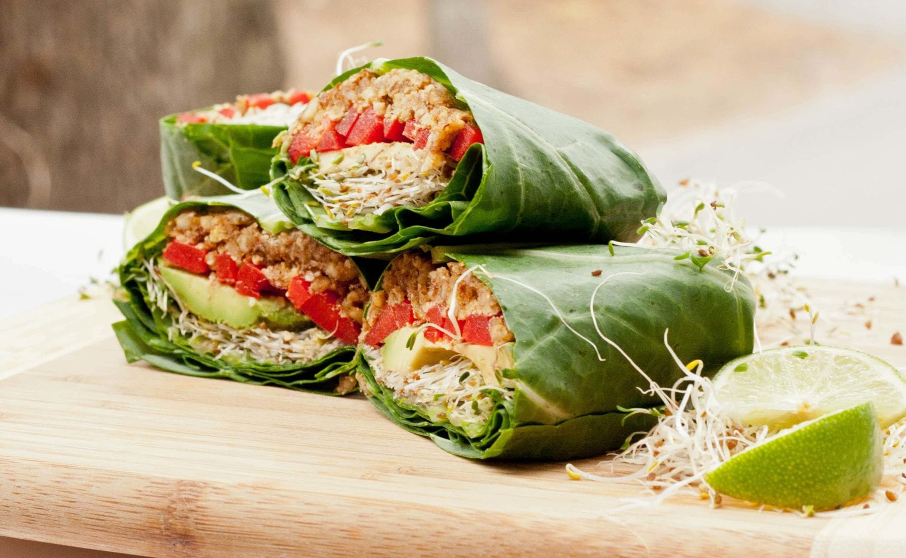 Raw vegan collard wraps recipe for Cuisine on the green