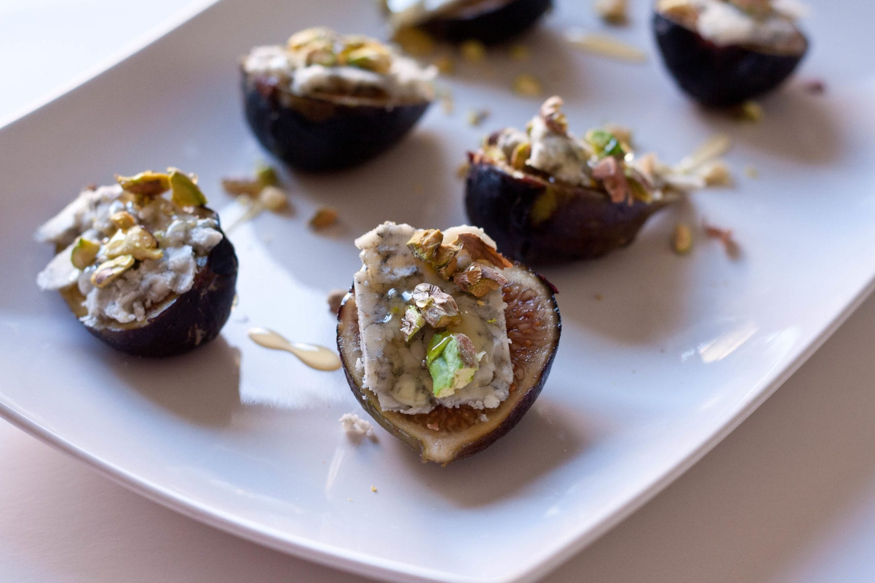 Figs with Blue Cheese, Pistachios and Honey