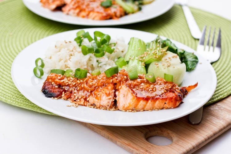 Broiled Salmon with Coconut Red Curry Sauce and Lime Scallion Rice {Gluten-Free, Dairy-Free}