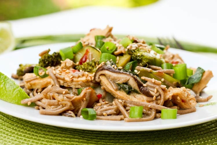 Soba Noodle with Tofu Bok Choy Broccoli Mushroom Stir Fry {Gluten-Free, Vegan}