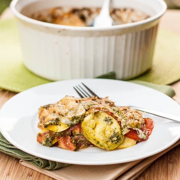 Squash and Tomato Gratin with Pesto and Gruyere