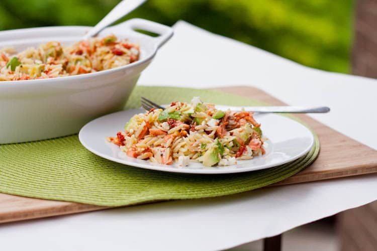 Orzo with Salmon, Sun-dried Tomatoes, Avocado and Feta {Gluten-Free}