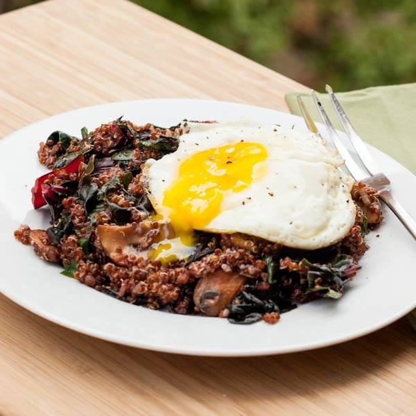 quinoa with rainbow chard and a sunny side up egg
