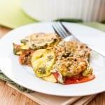 squash gratin with pesto and gruyere