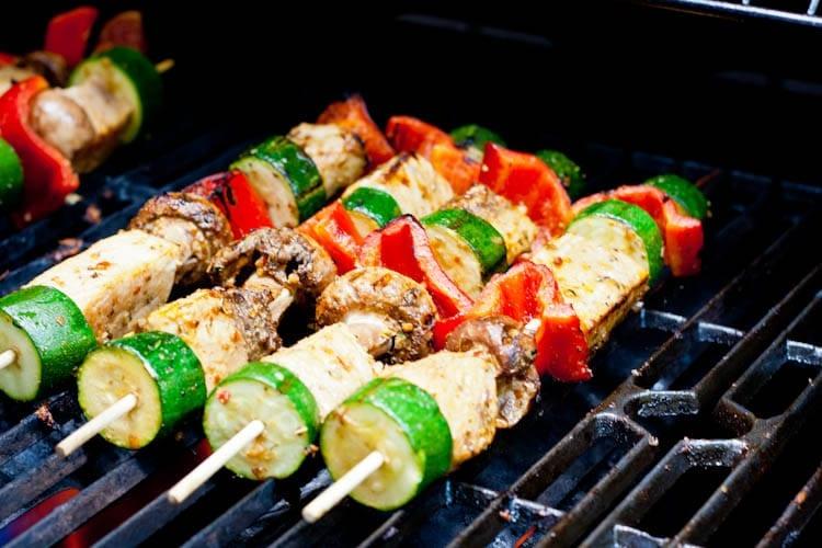 swordfish kebabs on the grill