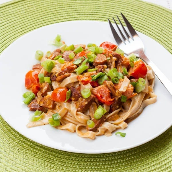 Pasta with Chorizo and Cherry Tomatoes in a Creamy Sauce