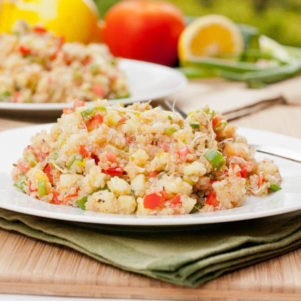 quinoa with tomatoes and cucumbers