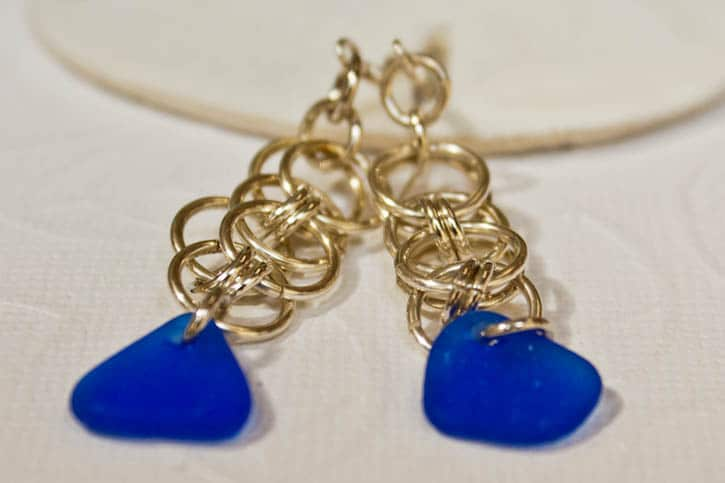 Earrings with blue seaglass