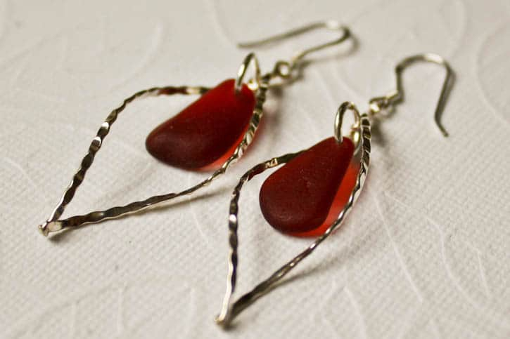 Earrings with red seaglass
