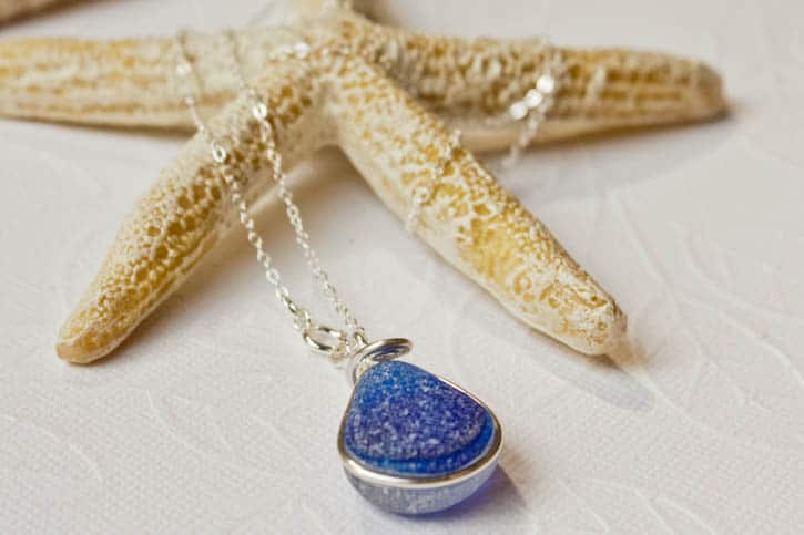 Necklace with blue   seaglass