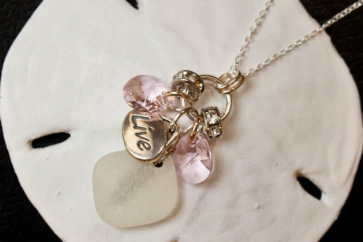 Necklace with pink seaglass