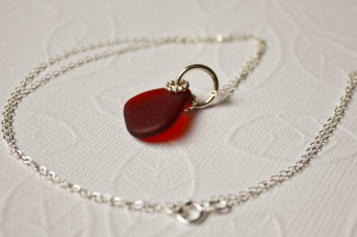 Necklace with red seaglass