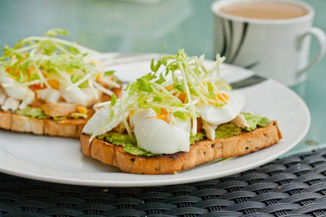 open faced egg sandwich