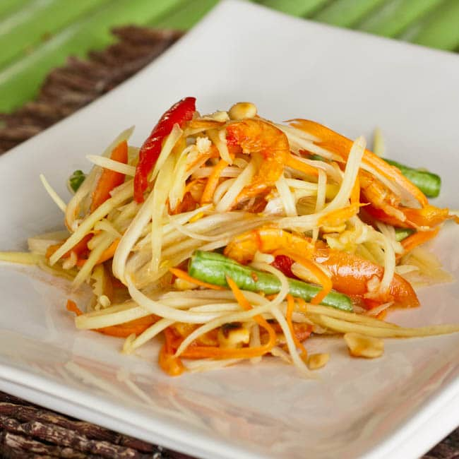 of the national dishes of Thailand – Som Tom – Green Papaya Salad ...