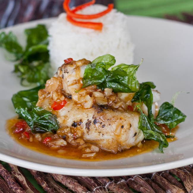sweet and sour fish w deep fried thai basil