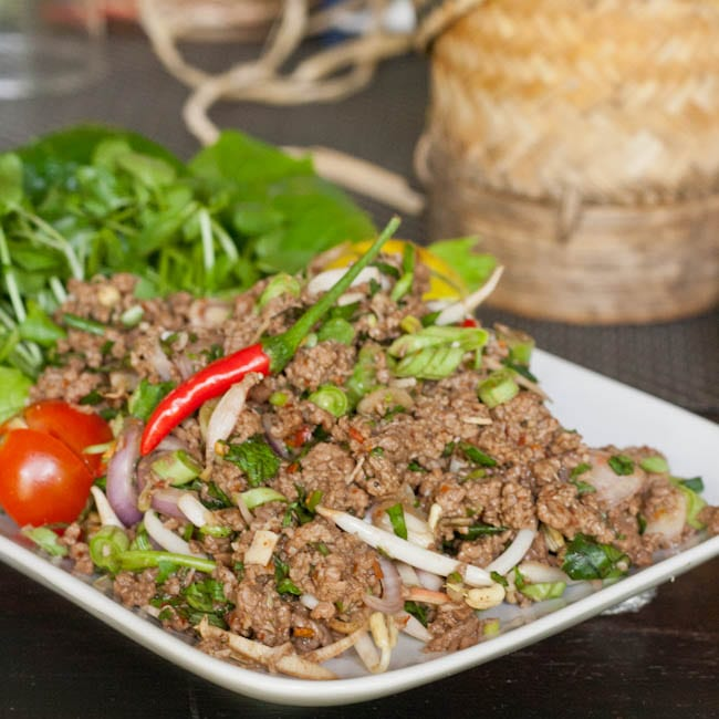 Minced Meat and Herb Salad – Laap Recipe {Gluten-Free, Dairy-Free}