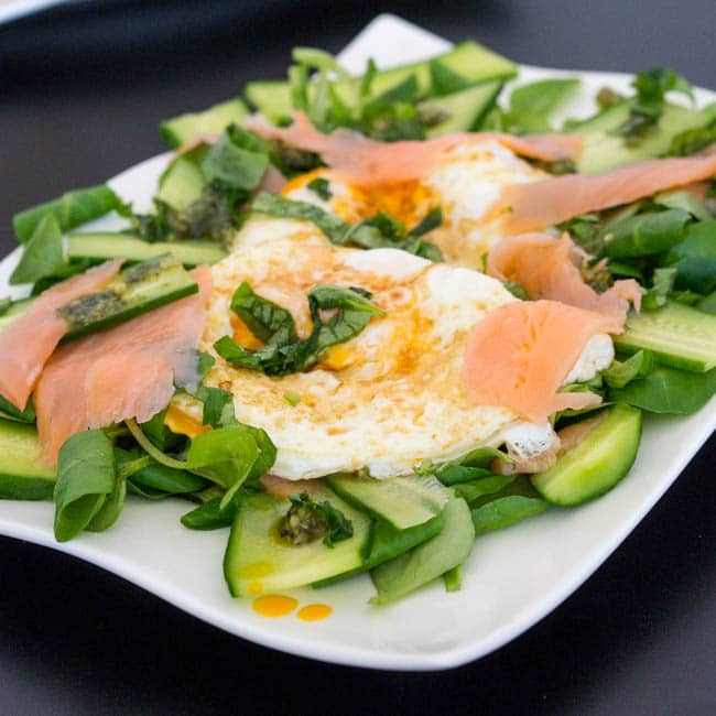 Brunch Salad with Fried Eggs and Smoked Salmon {Gluten-Free, Dairy-Free}