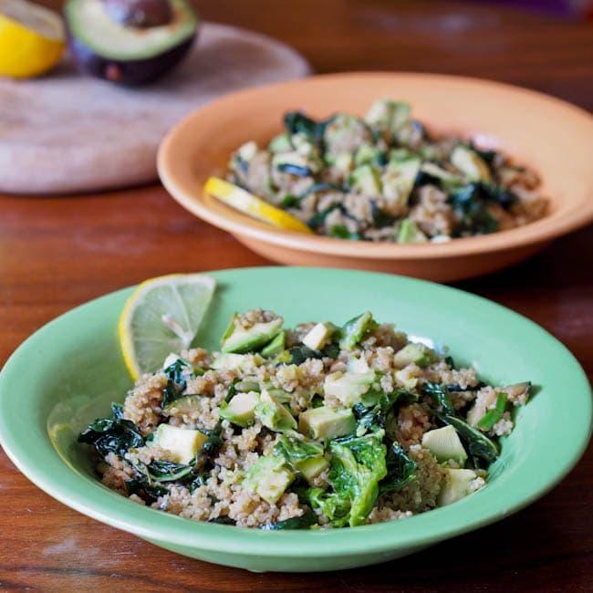 Quinoa with Pesto Walnuts Avocado Kale Zucchini Recipe {Gluten-Free, Vegan}