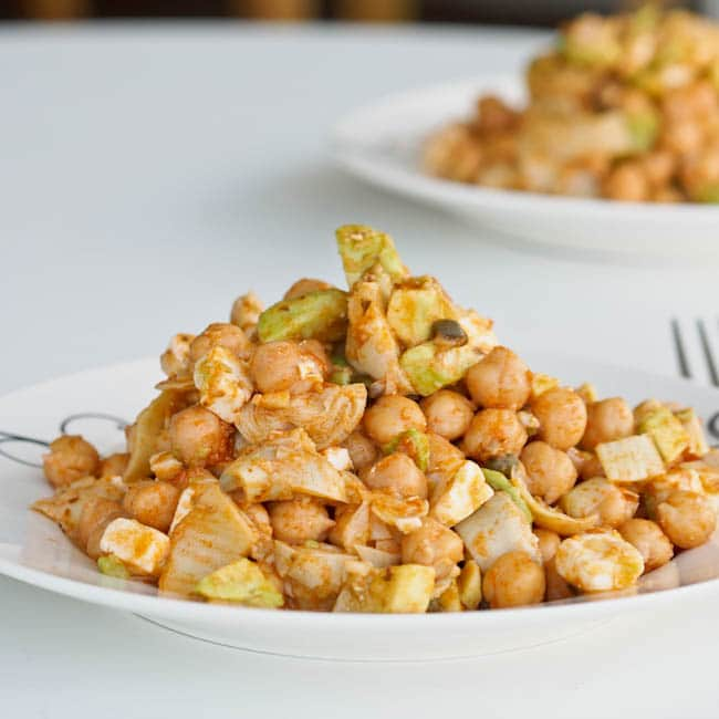 Chickpea Salad with Artichokes and Pesto