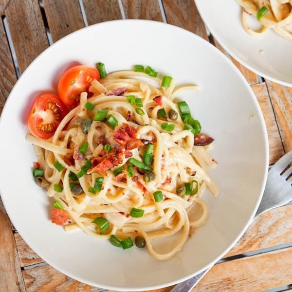 Lightened Up Coconut Milk Carbonara