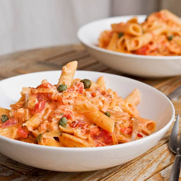 Penne with Chicken in a Creamy Tomato Sauce