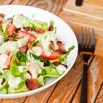 BLT salad with creamy vegan avocado dressing