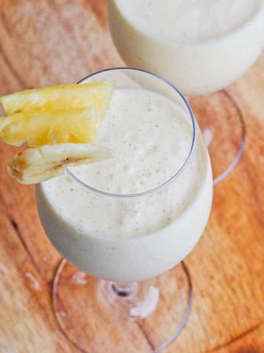 Gluten free and vegan pina colada smoothie