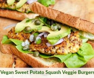 Vegan Sweet Potato Squash Veggie Burgers