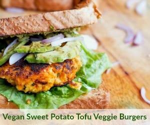 Vegan Sweet Potato Tofu Veggie Burgers