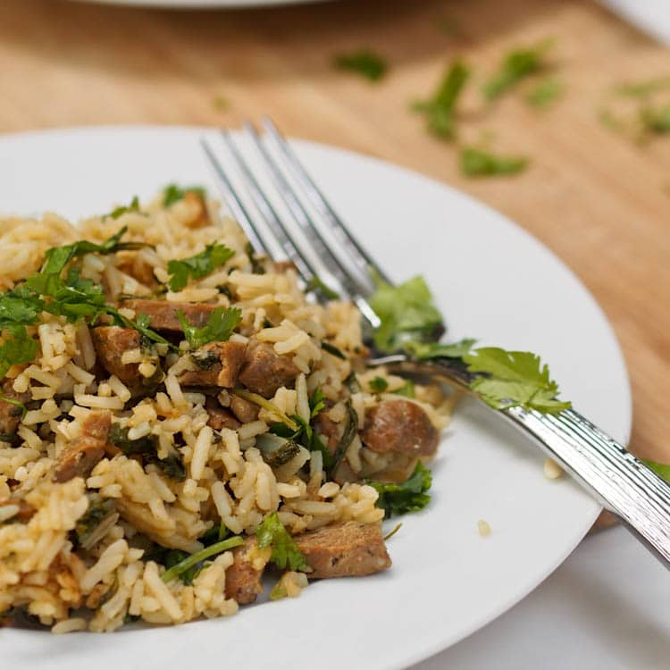 One Pot Spicy Chicken Sausage and Rice Recipe {GF, DF}
