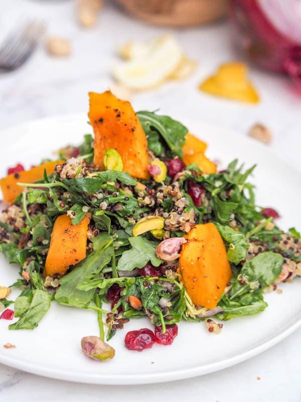 Vegan Acorn Squash Quinoa Salad with Cranberry and Pistachio