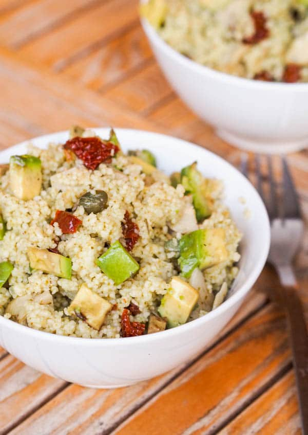 15 Minute Vegan Couscous with Sun-Dried Tomatoes, Avocados, and Artichokes