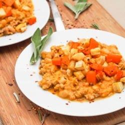 Ground Chicken Pumpkin Chili with Roasted Veggies Gluten Free Recipe