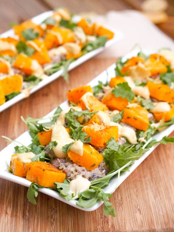 Wild Rice Squash Salad with Tahini Dressing