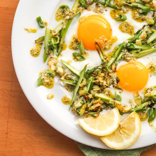 Sunny-Side-Up-Eggs-on-Brussels-Sprouts-Asparagus-Hash Dairy Free