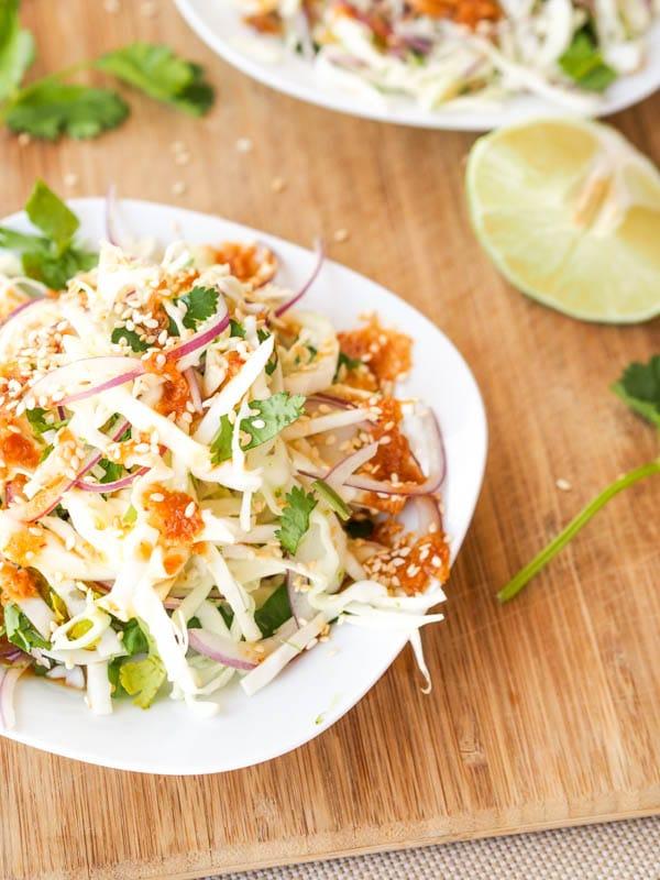 Vegan Asian Slaw with Cabbage Onion Cilantro {Gluten-Free}