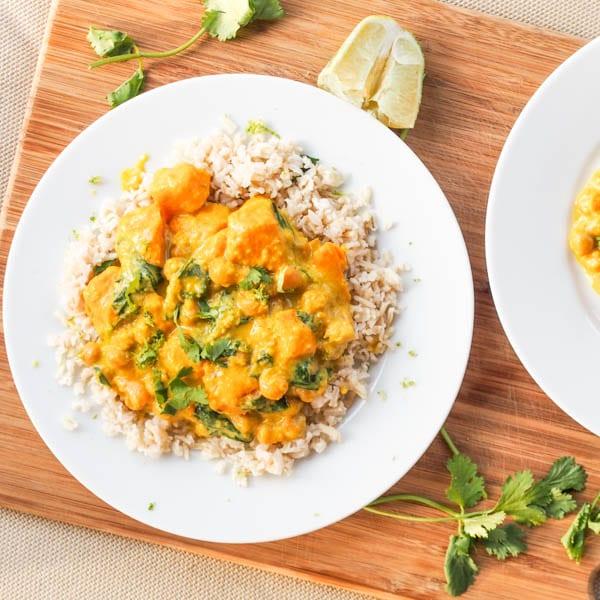 Spinach Chickpea Sweet Potato Curry { Vegan, Gluten-free }