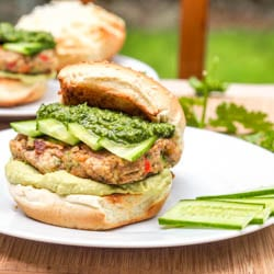 Bubba Veggie Burger with Cilantro Parsley Pesto and Avocado Hummus