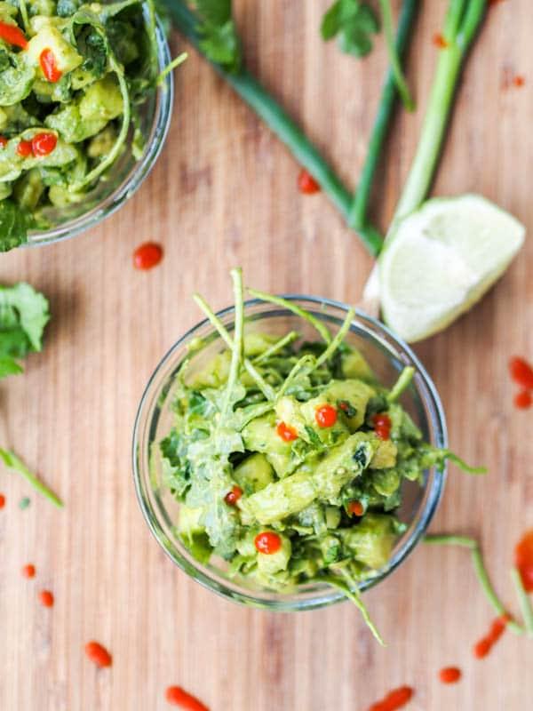 Vegan Avocado Salad with Cucumber, Scallions and Arugula {Gluten-Free}