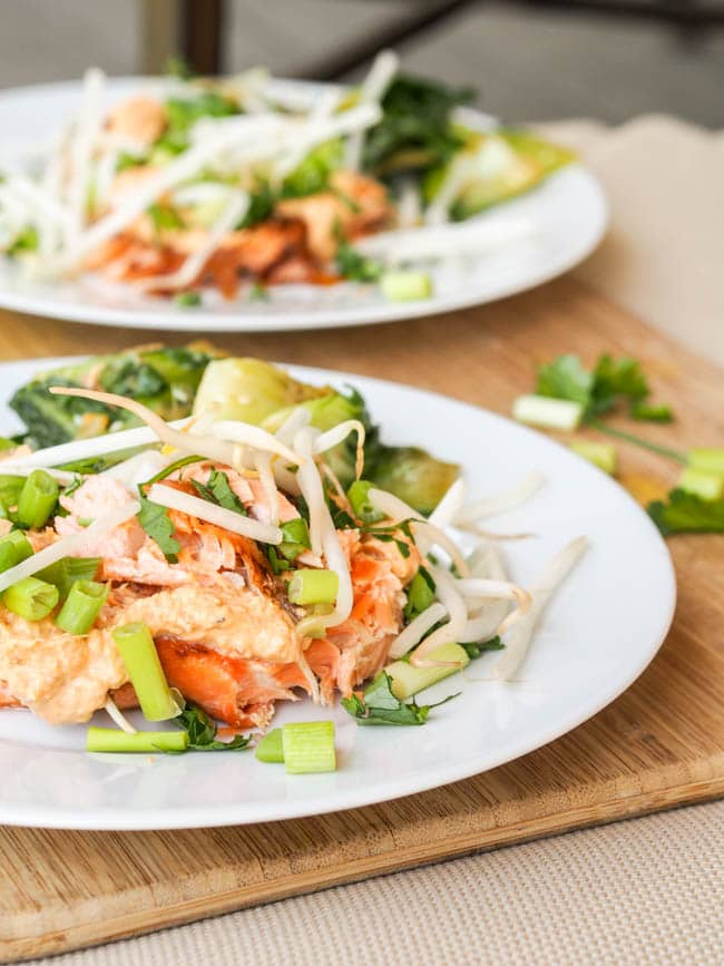 Broiled Red Curry Salmon with Bean Sprouts