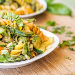 Vegan Summer Pesto Zucchini and Asparagus Pasta