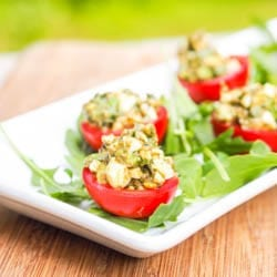 Avocado Pesto Stuffed Tomato Gluten Free Dairy Free Appetizer Recipe