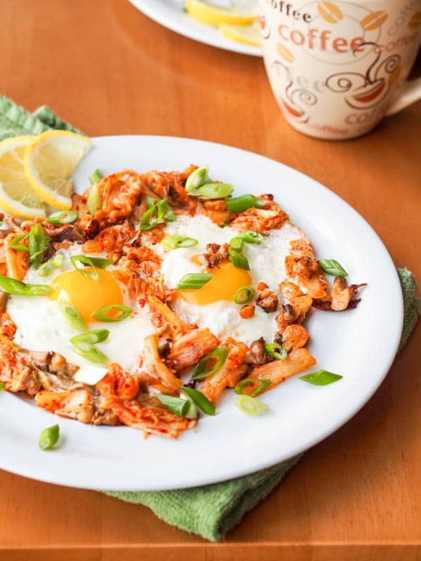 breakfast recipe. Make this Kimchi egg skillet with oyster mushrooms ...