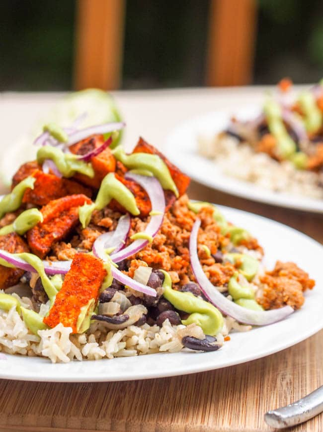 Turkey Taco Bowl with Avocado Crema {Gluten-Free, Dairy-Free}