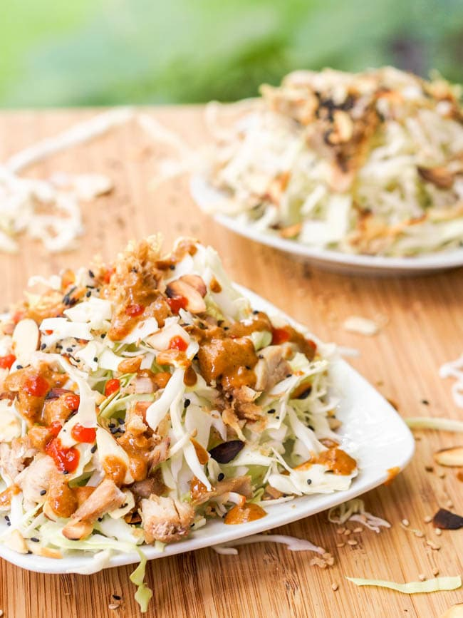 Asian Cabbage and Chicken Salad with Creamy Tahini Dressing