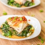 Seared Chilean Sea Bass with Asian Glaze and Spinach Recipe GF