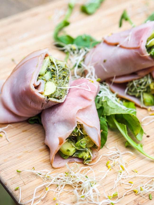 Smoked Ham Rolls Up with Avocado Pesto